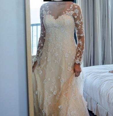 Schlichte Brautkleider Spitze Mit Lange Ärmel A Linie Hochzeitskleider_6