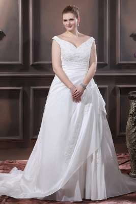 White Wedding Dresses Plus Size With Lace Off Shoulder A Line Big Size Wedding Gowns_1