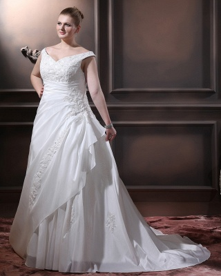 White Wedding Dresses Plus Size With Lace Off Shoulder A Line Big Size Wedding Gowns_3