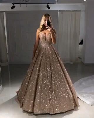 Abendkleid Gold Luxus | Abendkleider Lang Mit Glitzer Online_2