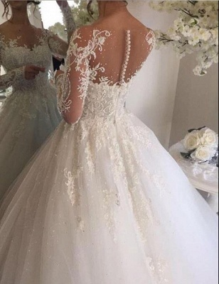 Luxury white wedding dresses with sleeves princess lace bridal gowns cheap_2