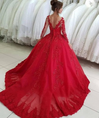 Luxury red wedding dresses with sleeves | Wedding dresses princess lace_2