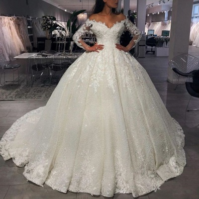 Luxury wedding dresses princess with glitter | Wedding dresses with sleeves_2