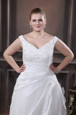 White Wedding Dresses Plus Size With Lace Off Shoulder A Line Big Size Wedding Gowns_2