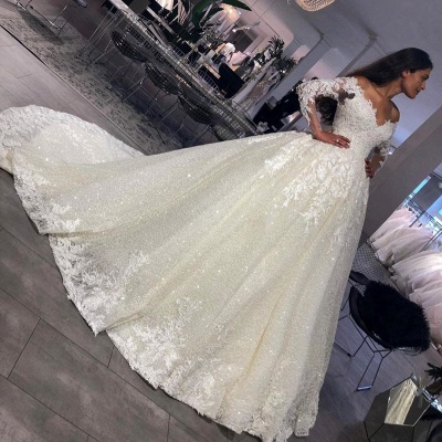 Luxury wedding dresses princess with glitter | Wedding dresses with sleeves_3