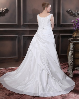 White Wedding Dresses Plus Size With Lace Off Shoulder A Line Big Size Wedding Gowns_4