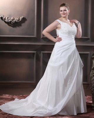 White Wedding Dresses Plus Size With Lace Off Shoulder A Line Big Size Wedding Gowns_5