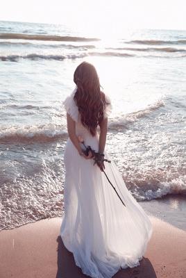 Schlichte Brautkleider Chiffon | Etuikleider Hochzeitskleider Bodenlang Online_4
