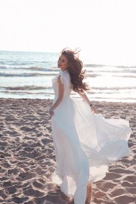 Schlichte Brautkleider Chiffon | Etuikleider Hochzeitskleider Bodenlang Online_5