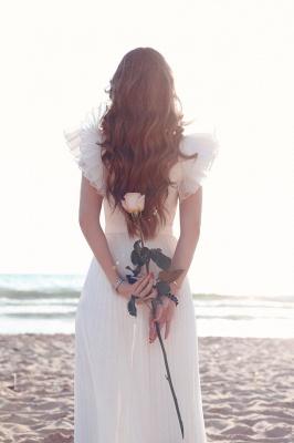 Schlichte Brautkleider Chiffon | Etuikleider Hochzeitskleider Bodenlang Online_3