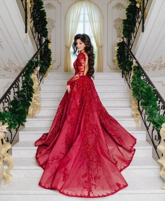 Luxury evening dresses with sleeves | Lace prom dresses long red_3