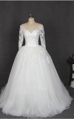 Schlichte Hochzeitskleider Mit Ärmel Weiß Tüll Brautkleid Günstig_1