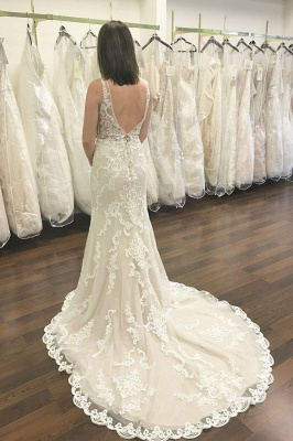 Simple mermaid wedding dresses | Wedding dresses V neckline_2
