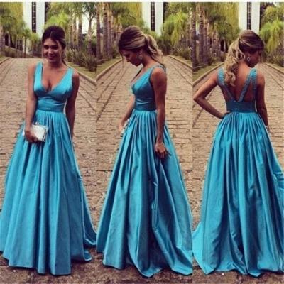 Elegante Blau Abendkleider Lang Günstig Träger A Linie Abendmoden Partykleider_3