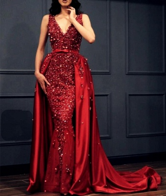 Red Evening Dress Long Cheap | Red dresses with lace_3