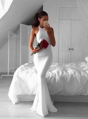 Weiße Abschlussballkleider Lang Abendkleider Meerjungfrau Satin Ballkleider_3