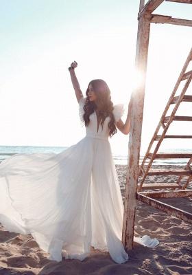 Schlichte Brautkleider Chiffon | Etuikleider Hochzeitskleider Bodenlang Online_1
