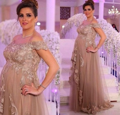 Champagne Evening Dresses Long For Pregnant Women With Lace One Shoulder Dresses Pregnancy_2