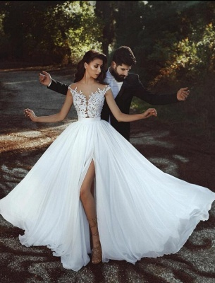 Cheap Summer Beach Boho Wedding Dresses With Lace_2