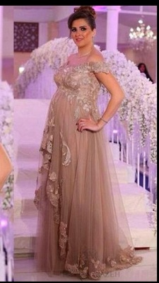 Champagne Evening Dresses Long For Pregnant Women With Lace One Shoulder Dresses Pregnancy_3