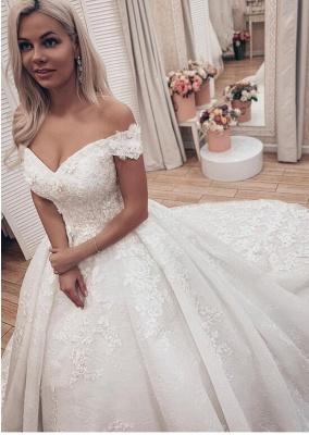 Gorgeous Off Shoulder A Line Lace Wedding Dresses_1