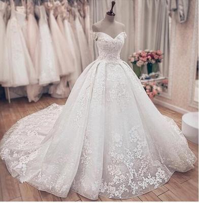 Gorgeous Off Shoulder A Line Lace Wedding Dresses_2