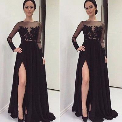 Prom Dresses Long Sleeves Black Cheap Evening Dresses With Lace Chiffon Evening Wear_2