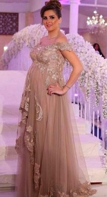 Champagne Evening Dresses Long For Pregnant Women With Lace One Shoulder Dresses Pregnancy_1