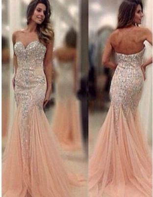 Rosa Gold Günstig Lange Abendkleider Mit Spitze Meerjungfrau Abendmoden Online_1