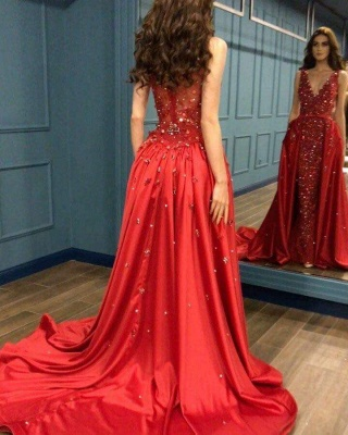 Red Evening Dress Long Cheap | Red dresses with lace_2