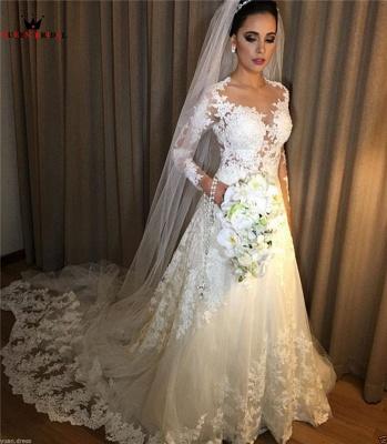 Elegant Weiße Brautkleider Mit Ärmel Hochzeitskleider Spitze Online_1