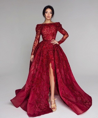 Luxury evening dresses with sleeves | Lace prom dresses long red_1