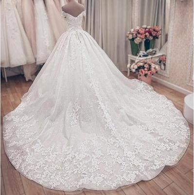 Gorgeous Off Shoulder A Line Lace Wedding Dresses_4