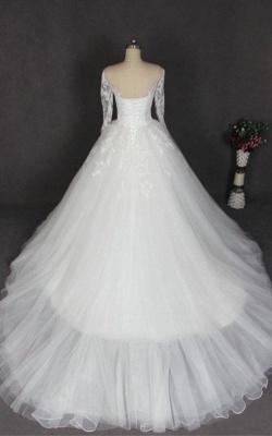 Schlichte Hochzeitskleider Mit Ärmel Weiß Tüll Brautkleid Günstig_2