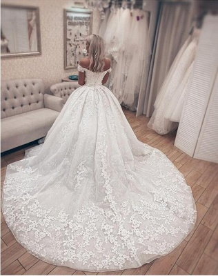 Gorgeous Off Shoulder A Line Lace Wedding Dresses_3