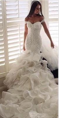 Elegante Brautkleider Mit Spitze Meerjungfrau Organza Hochzeitskleider Brautmoden_3