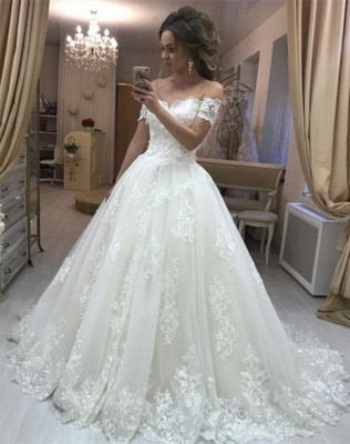 Elegante Brautkleider Creme A Linie Spitze Hochzeitskleider Günstig Online_1