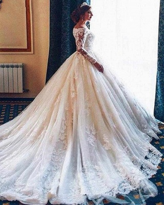 Designer Wedding Dresses With Lace A Line | Wedding dresses with sleeves_2