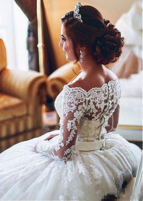 Designer Wedding Dresses With Lace A Line | Wedding dresses with sleeves_3