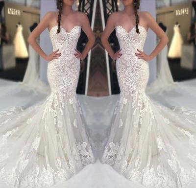 Fashion white wedding dresses with lace mermaid wedding gowns cheap online_2