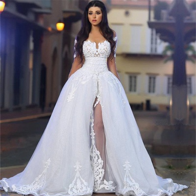 White Wedding Dresses 2021 Lace Long Sleeves A Line Organza Bridal Wedding Gowns_2