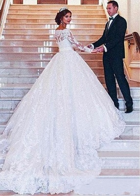 Designer Wedding Dresses With Lace A Line | Wedding dresses with sleeves_5