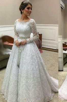 Simple Wedding Dresses Like A Line Wedding Dresses With Sleeves Online_1