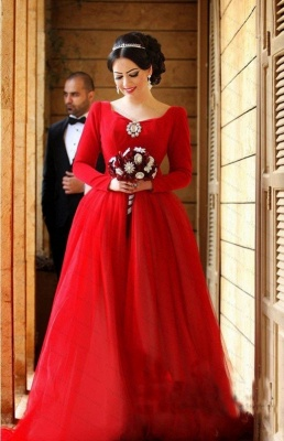 Red Evening Dresses Long Sleeves A Line Organza Evening Wear Prom Dresses_1