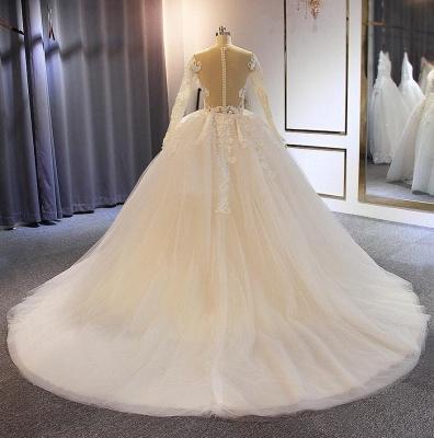 Elegante Brautkleider mit Ärmel | A Linie Hochzeitskleider Mit Spitze_4