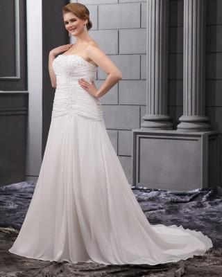 Weiß Brautkleider Übergröße Chiffon A Linie Hochzeitskleider Große Größe Brautmoden_5