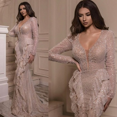 Luxury evening dress with sleeves | Buy sequin long prom dresses online_2