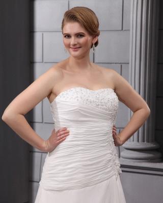 Weiß Brautkleider Übergröße Chiffon A Linie Hochzeitskleider Große Größe Brautmoden_3