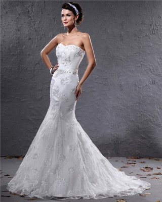 Romantic Wedding Dresses White Lace Mermaid Bridal Wedding Dresses With Train_3