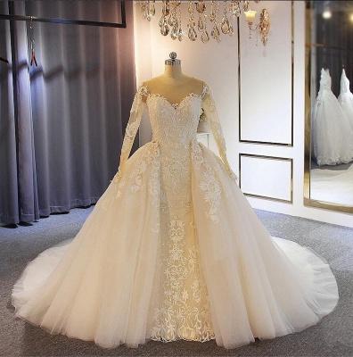 Elegante Brautkleider mit Ärmel | A Linie Hochzeitskleider Mit Spitze_2